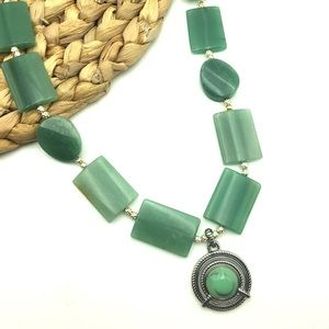 Chunky Statement Necklace Green Agate Stone